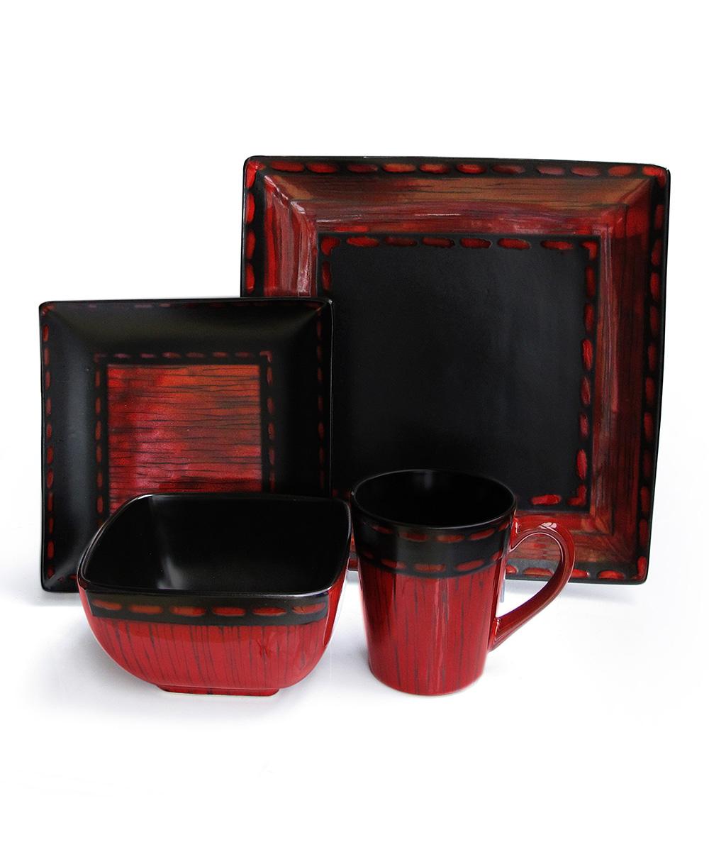 Black Red Livingston 16 Pc Dinnerware Set