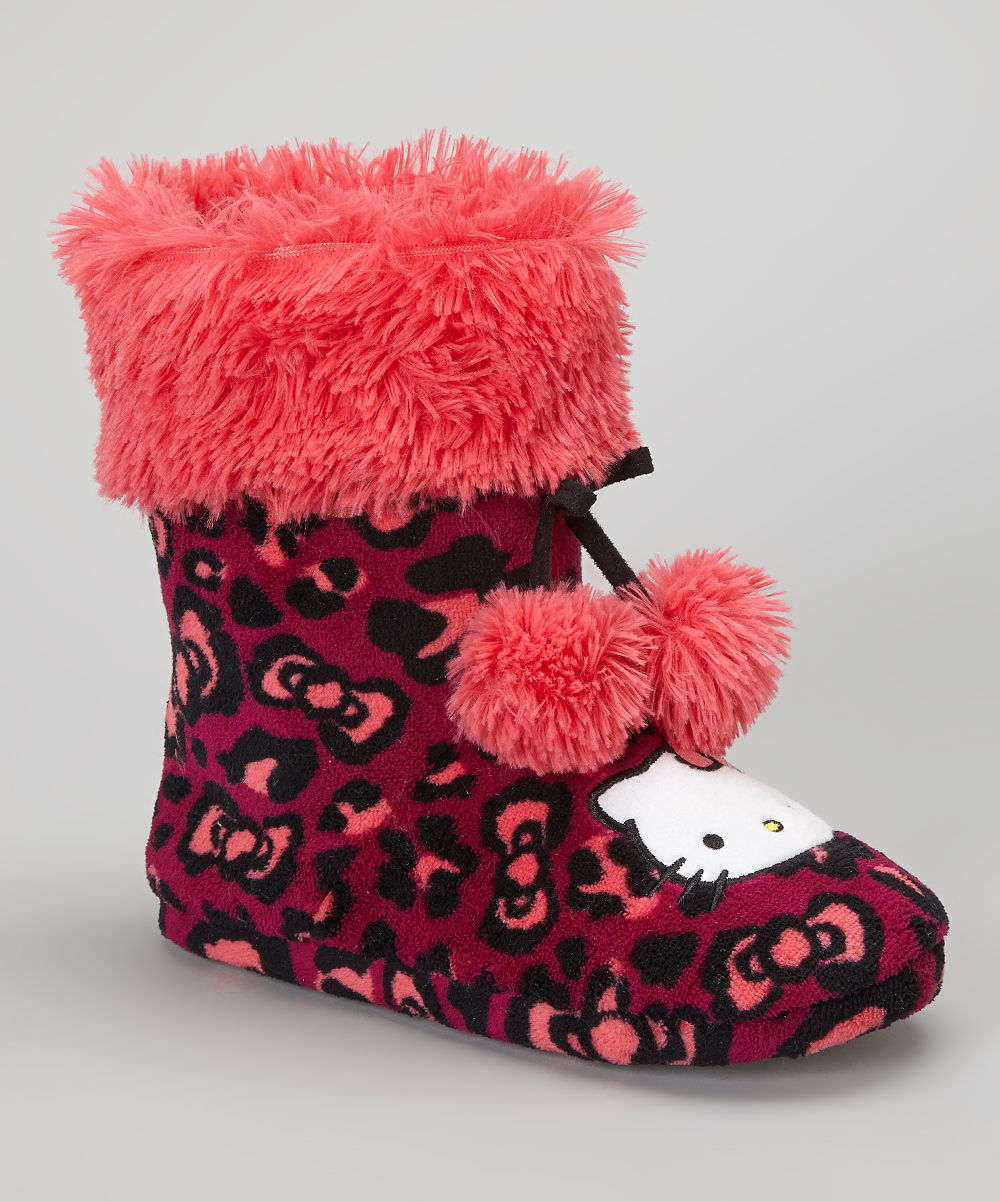 3b2d3433b love this product Pink & Black Leopard Hello Kitty Boot Slipper - Women