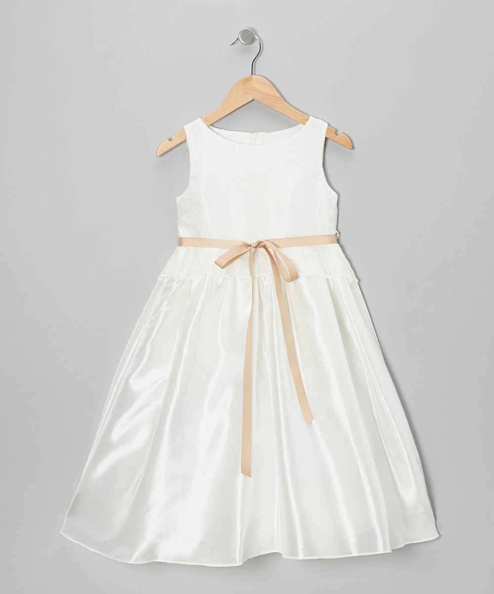 93890fae9253c Kid's Dream Ivory & Champagne Organza Peplum Dress - Toddler & Girls