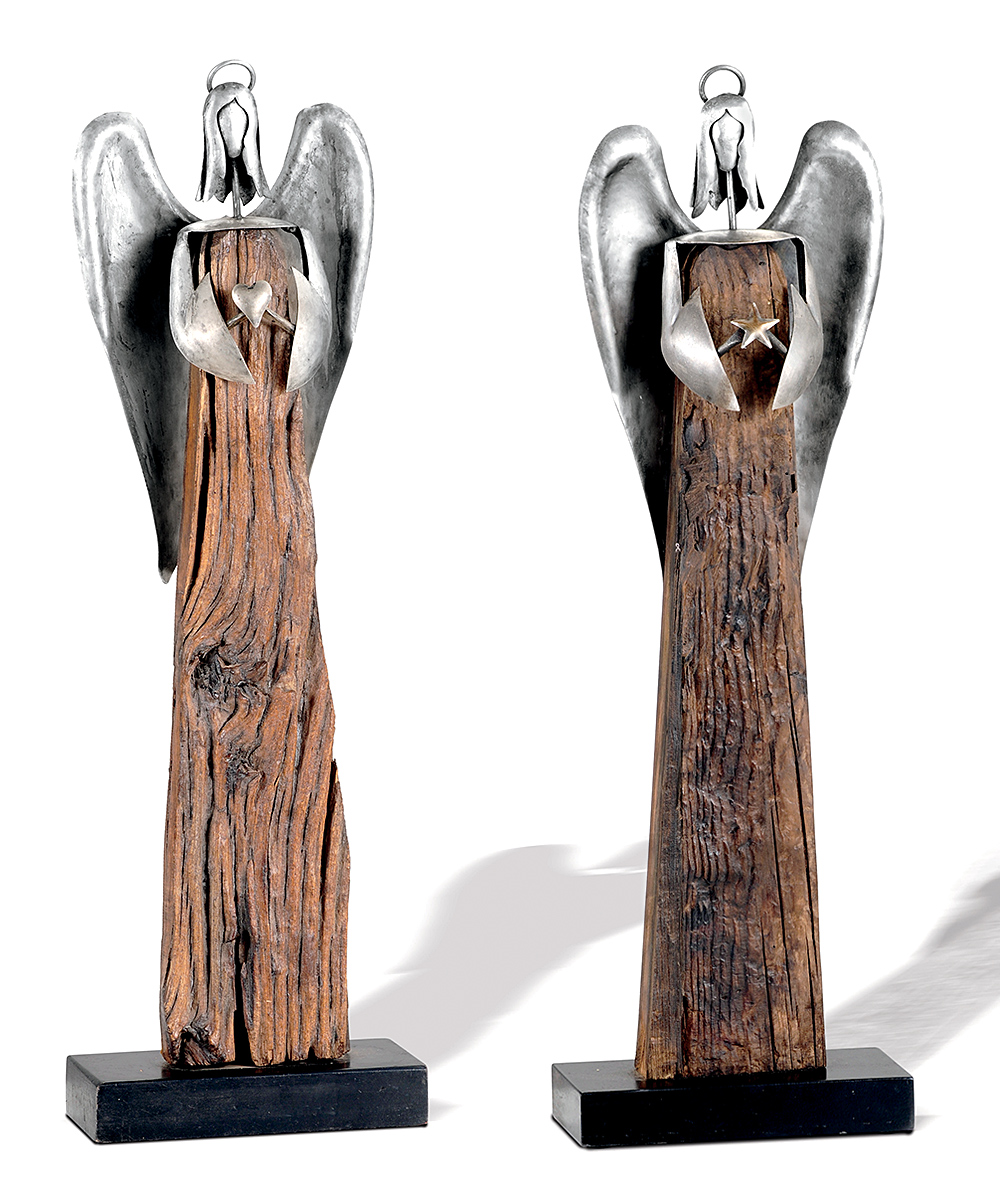 Foreside Reclaimed Wood Angel Figurine Set Of Two
