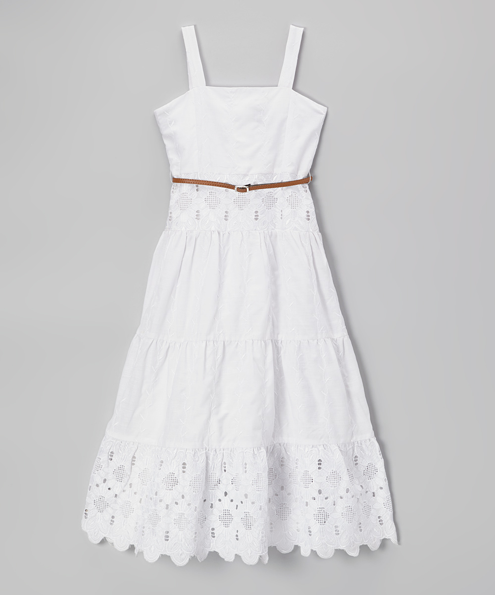 87411ea3b Laundry by Shelli Segal White Betsy Eyelet Lace Maxi Dress - Girls ...