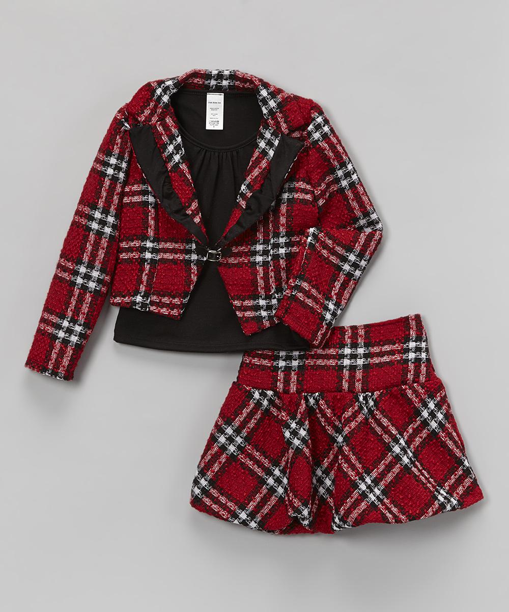 c3b4bd60b Just Kids Red Plaid Blazer Set - Toddler & Girls | Zulily