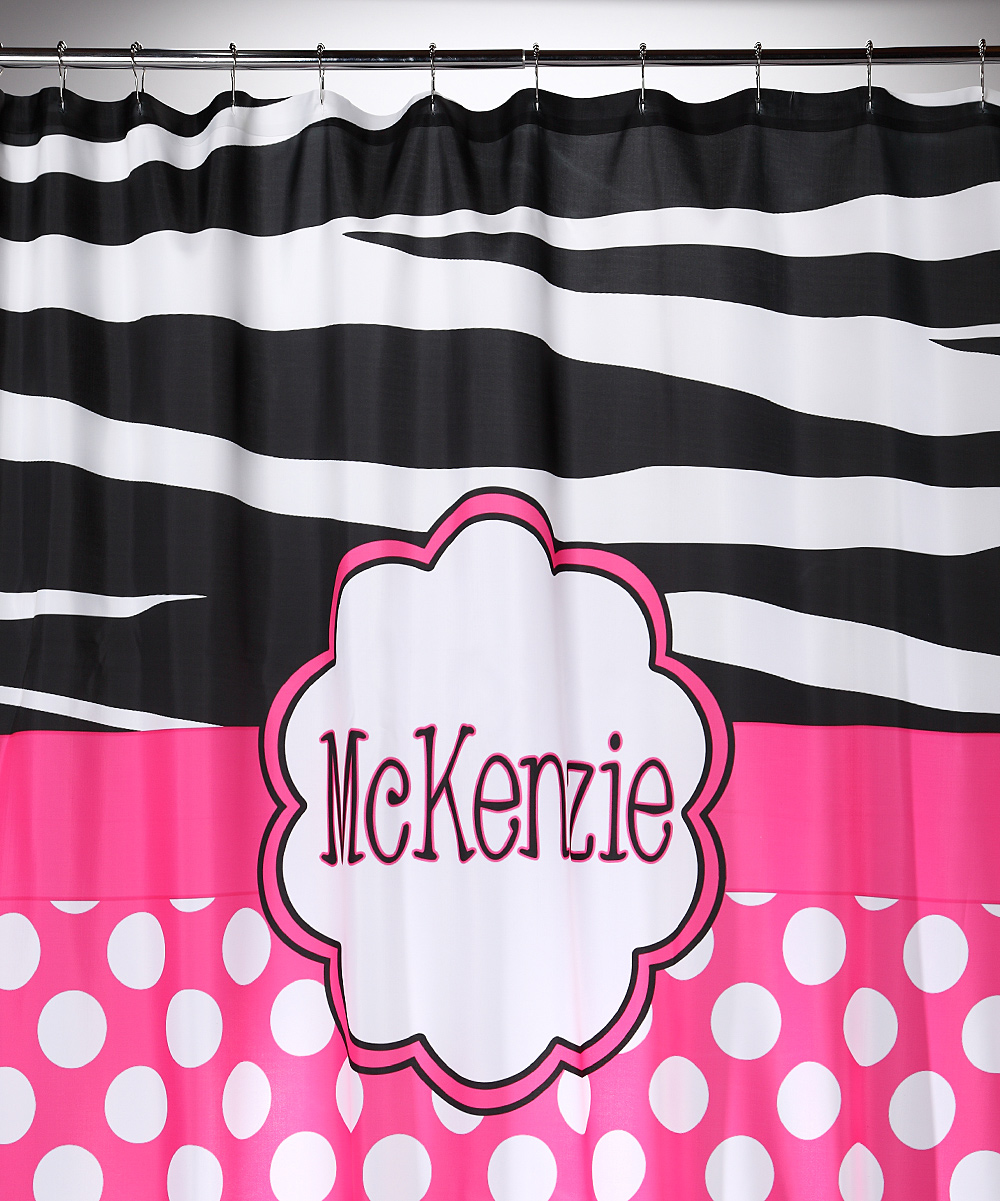 Love This Product Polka Dot Zebra Personalized Shower Curtain