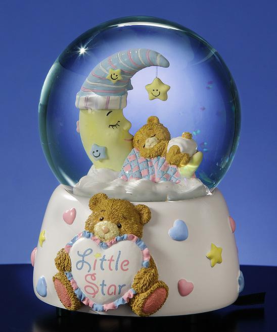 The San Francisco Music Box Company Teddy Bear & Moon Musical Water Globe