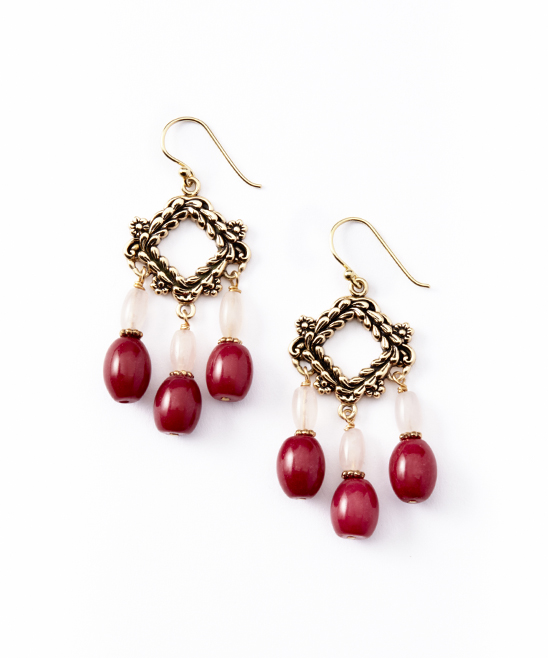 love this product Pink Jade & Rose Quartz Chandelier Drop Earrings
