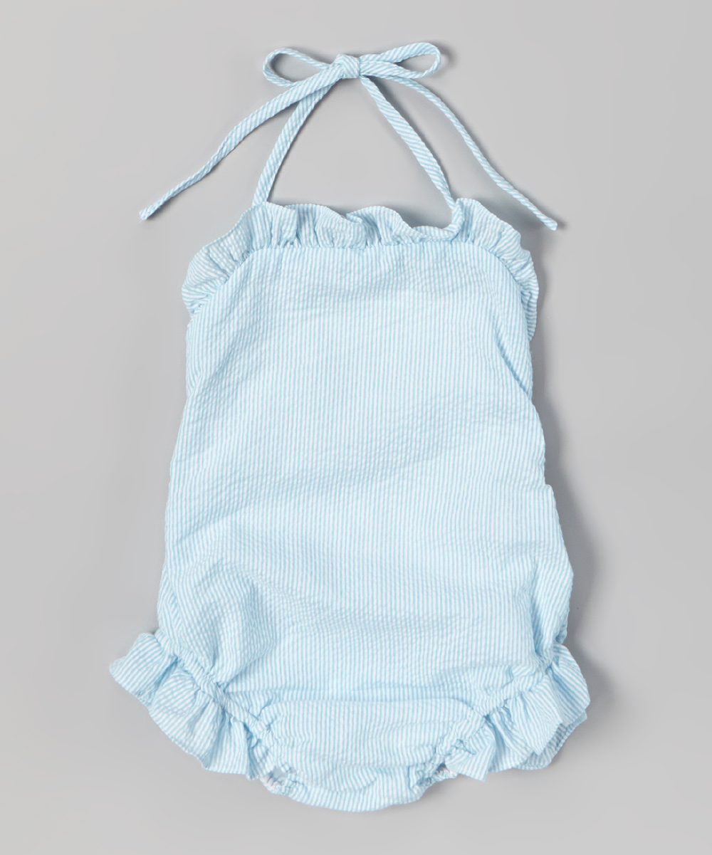 f409420393822 love this product Turquoise Seersucker Ruffle Swimsuit - Infant & Toddler