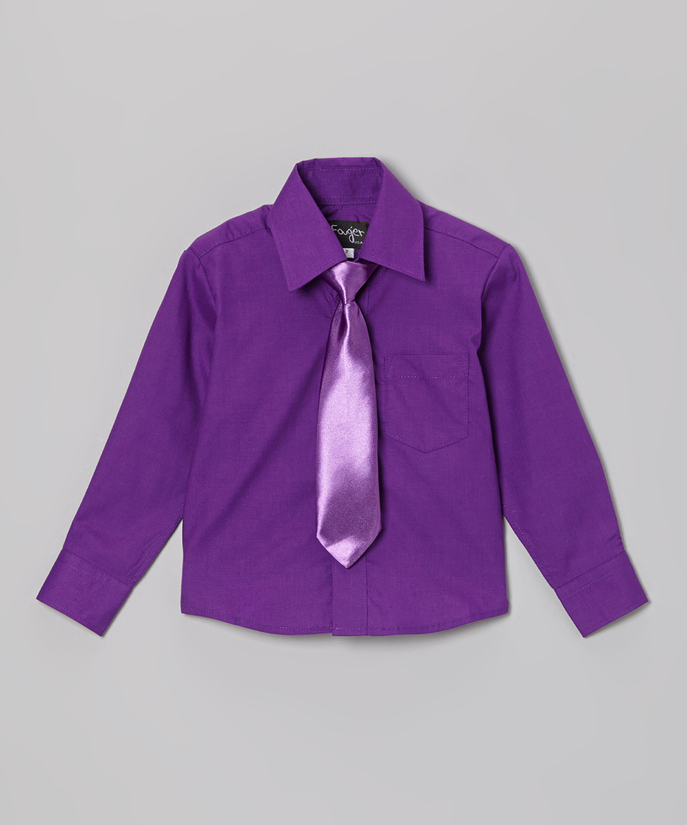 Fouger For Kids Purple Button Up Shirt Tie Toddler Boys Zulily