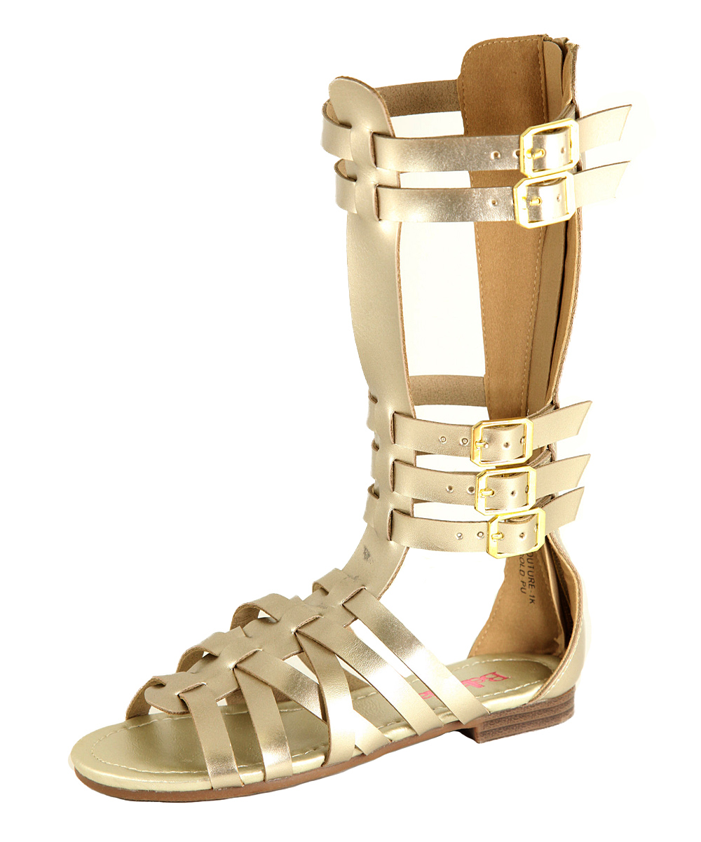 1aded19d283ee Bella Marie Gold Buckle Knee-High Gladiator Sandal
