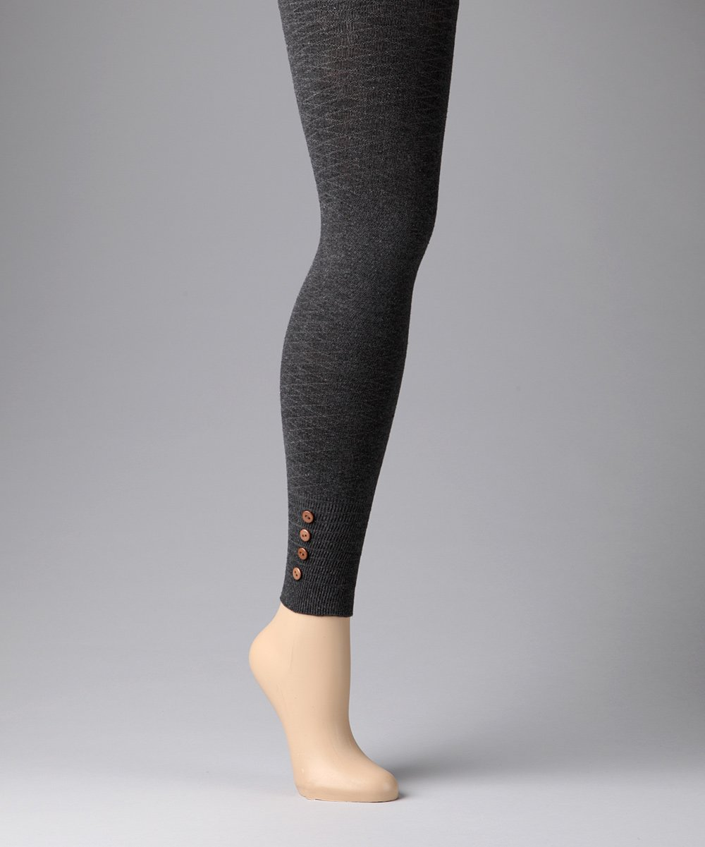 c8f177fece664 love this product Gray Buttoned Sweater Footless Tights - Women