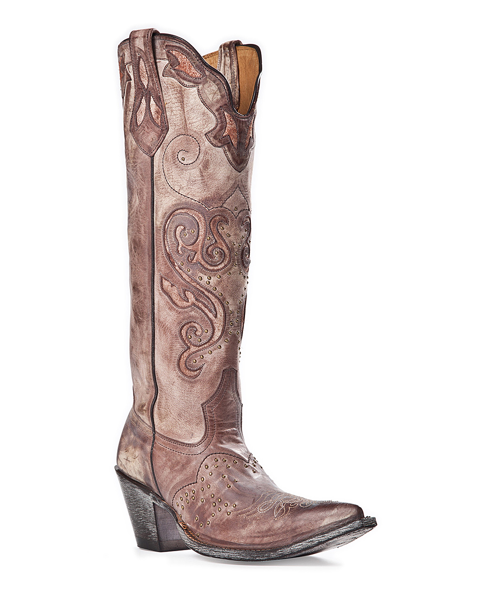 b3f4bf1b877 Johnny Ringo Boots Brown Studded Distressed Leather Knee-High Cowboy ...