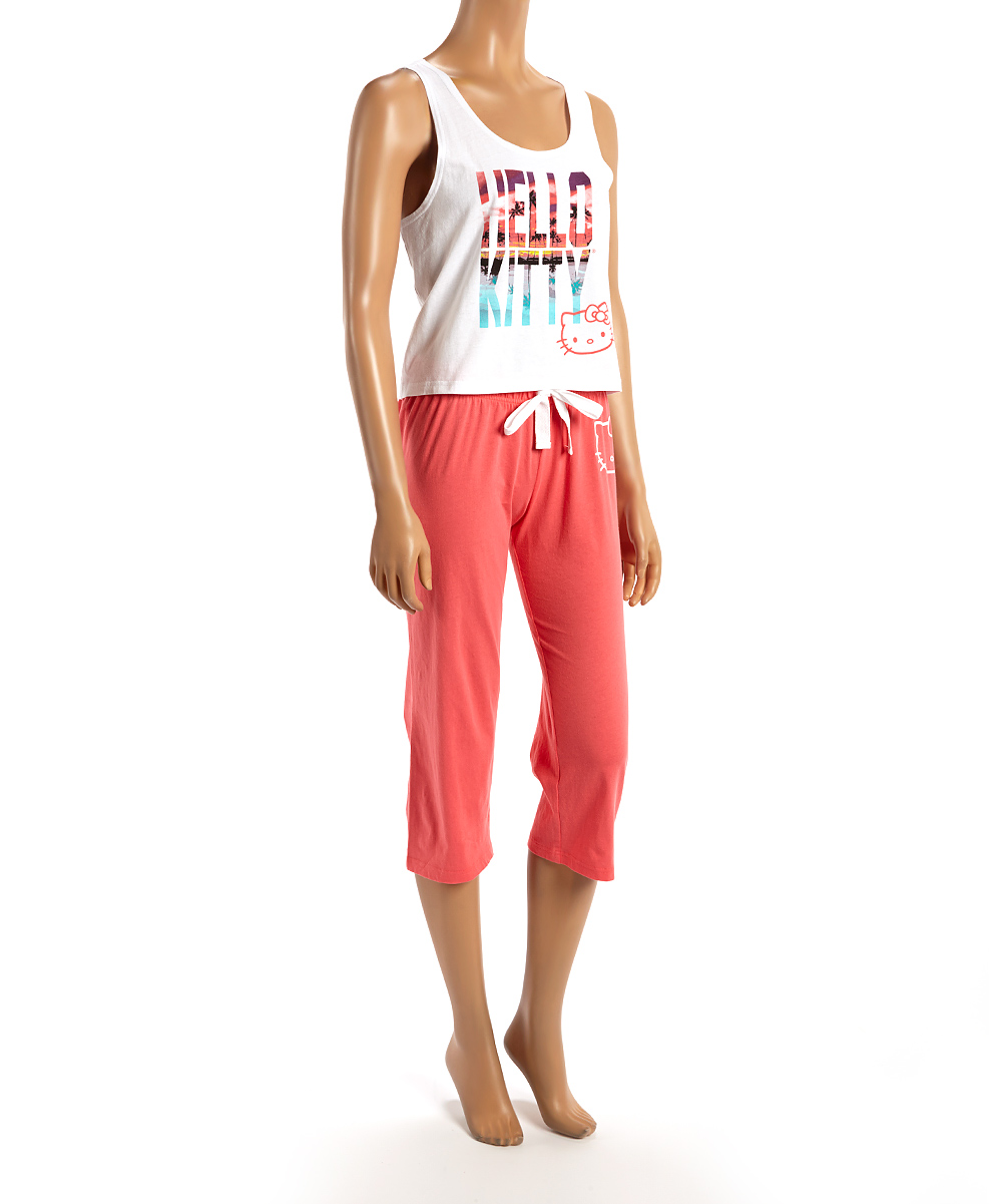 6e8653adf love this product Coral & White Hello Kitty Capri Pajama Set - Women