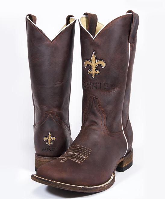 51cce79c Old Pro Leather Goods Co. New Orleans Saints Square-Toe Cowboy Boot - Men