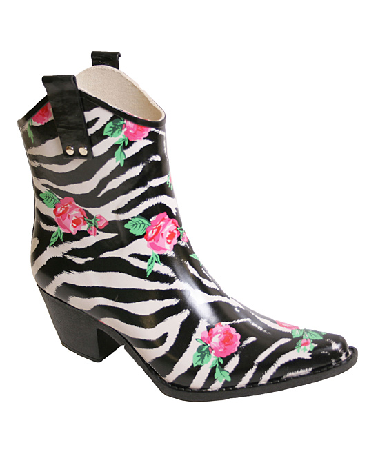 9f5a66d23eb Nomad Footwear Rose Zebra Yippy Low Cowboy Rain Boot