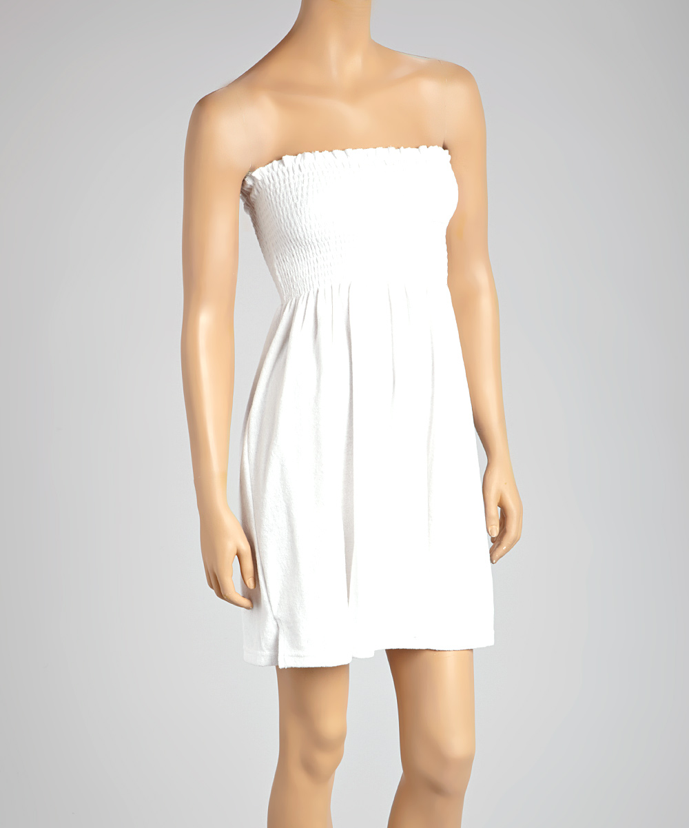 242caa4e583b love this product White Smocked Terrycloth Strapless Cover-Up - Women   Plus