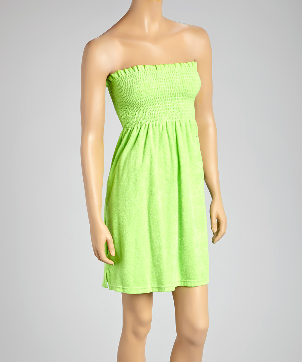 6f67f0a271 love this product Lime Smocked Terrycloth Strapless Cover-Up - Women & Plus