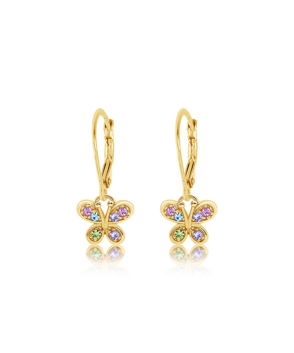19645efb8a479 Chanteur Designs 14k Gold-Plated Butterfly Earrings With Swarovski® Crystals