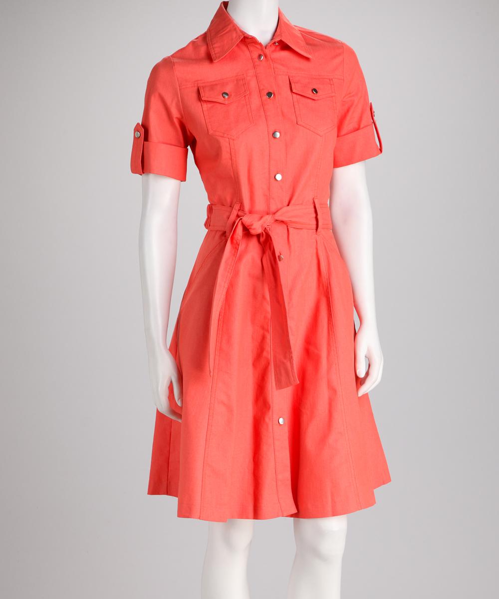 Coral Tie Waist A Line Shirt Dress Zulily