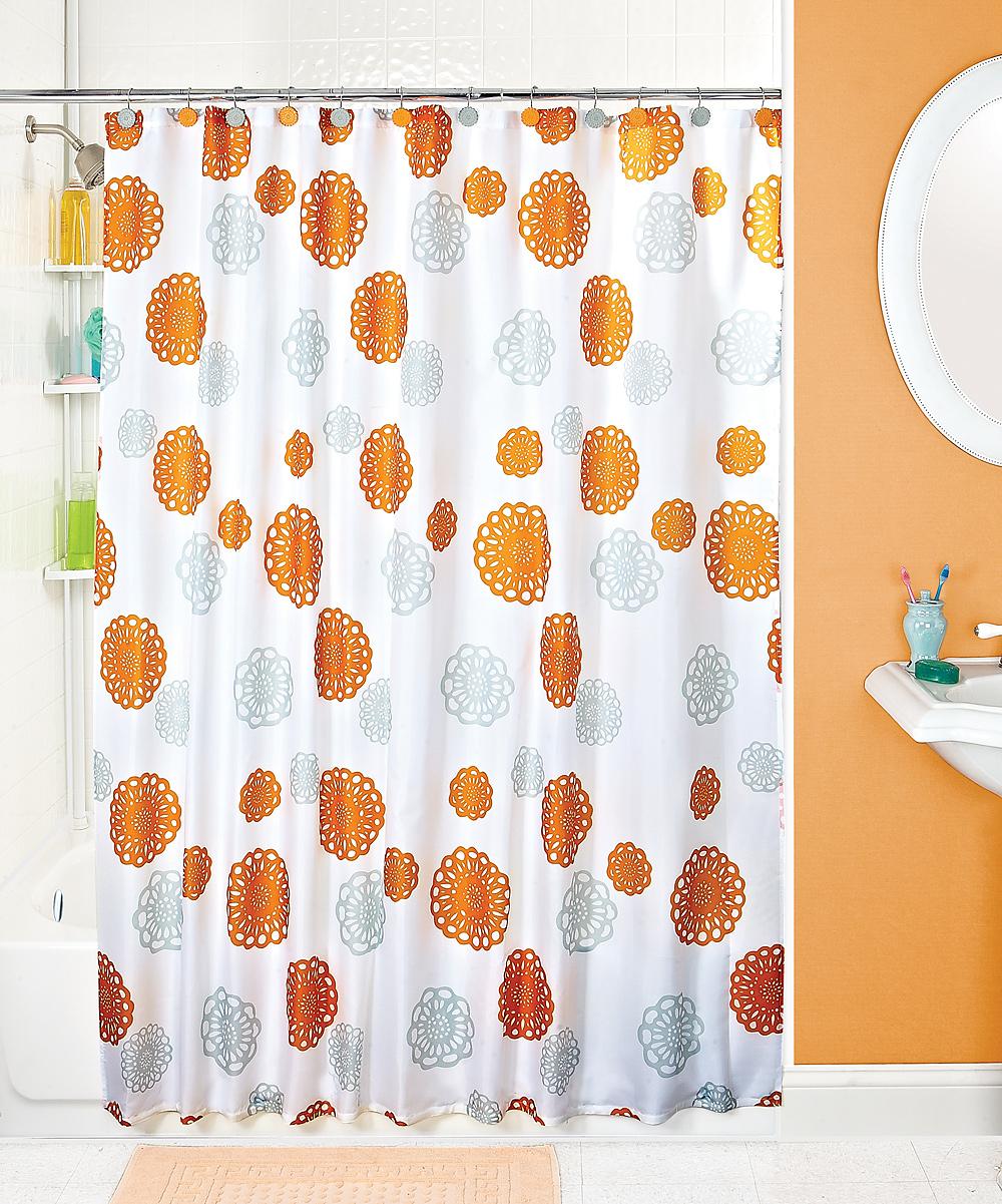 Orange Gray Floral Shower Curtain