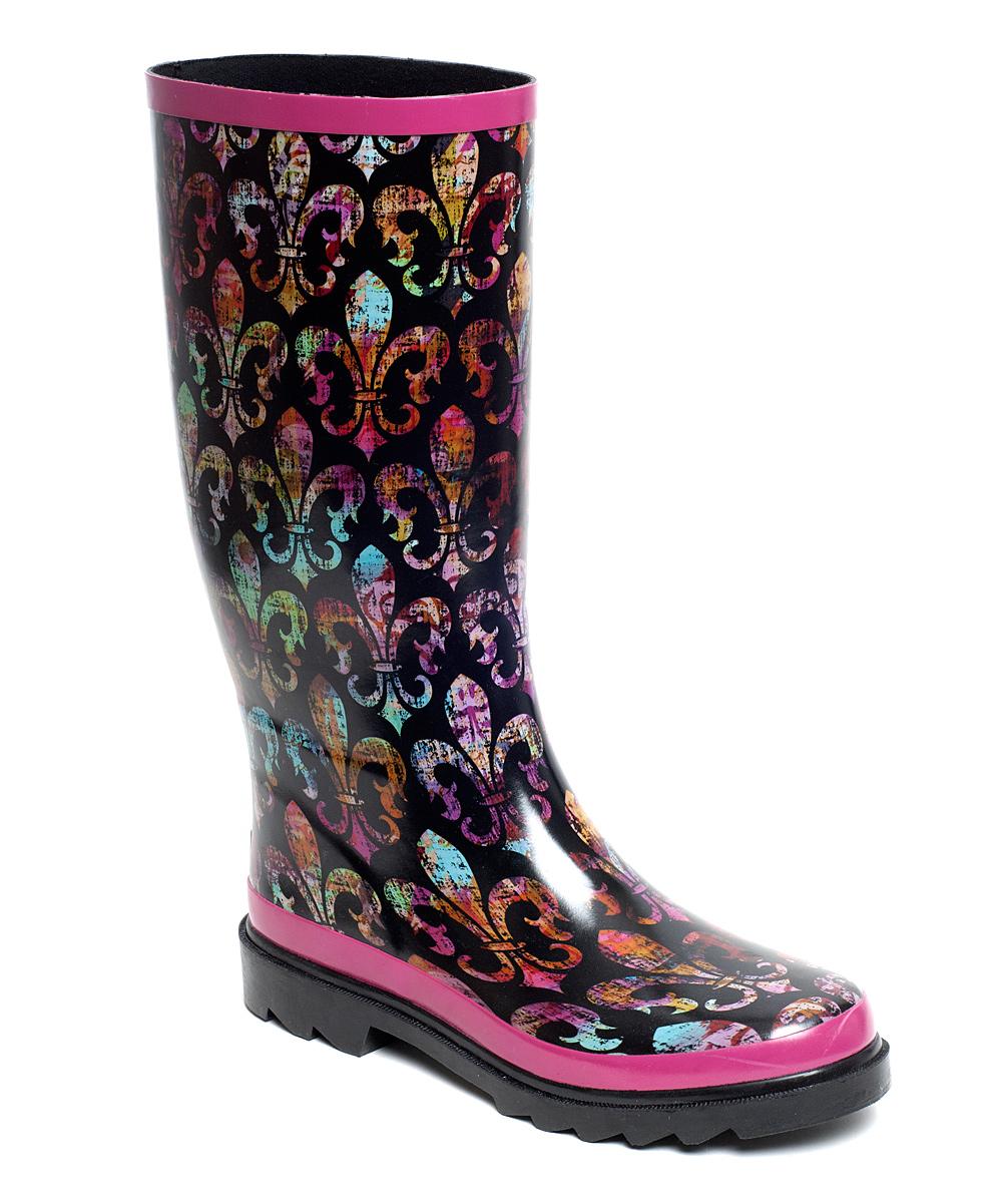9c79d3856ec Rain Bops by Beehive Black Fleur-de-Lis Vieux Carre Rain Boot