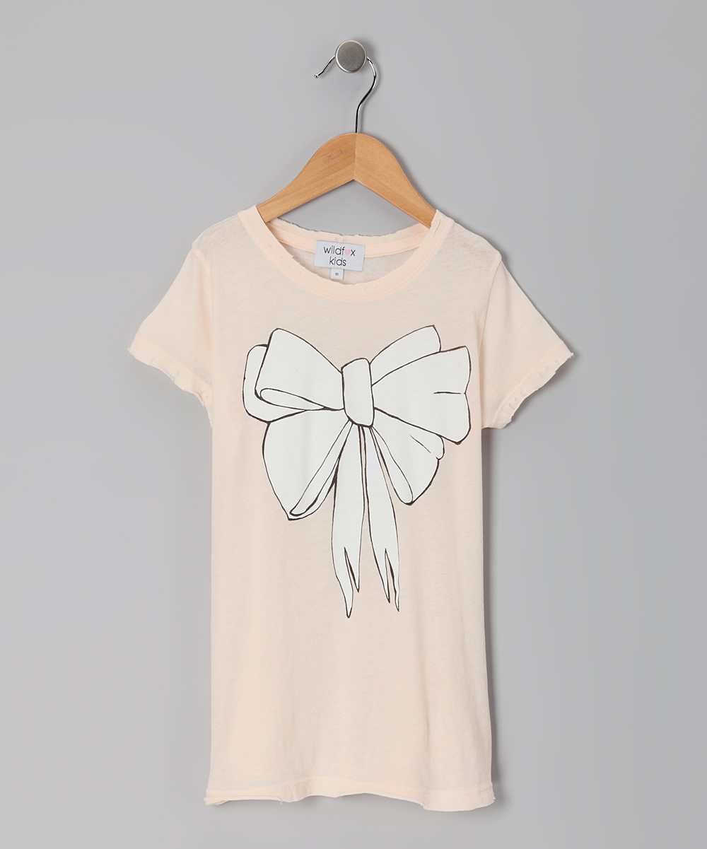 Nude & White Bow Crewneck Tee - Girls