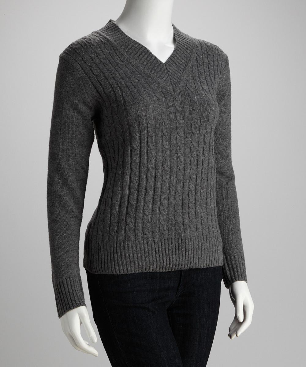 d2ef11cd4e6 jon & anna Gray Cable-Knit V-Neck Sweater - Women