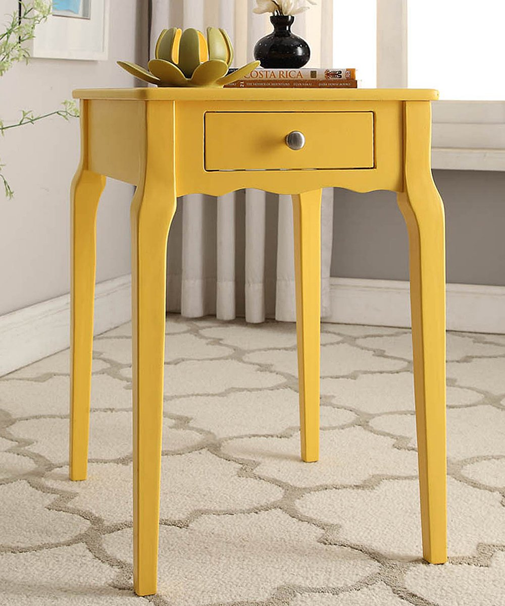 - Blaine Collection Yellow Chilton One-Drawer Accent Table Zulily