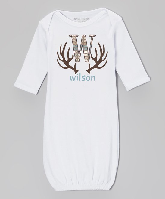 .99  White & Brown Antler Personalized Gown – Newborn & Infant at Zulily!