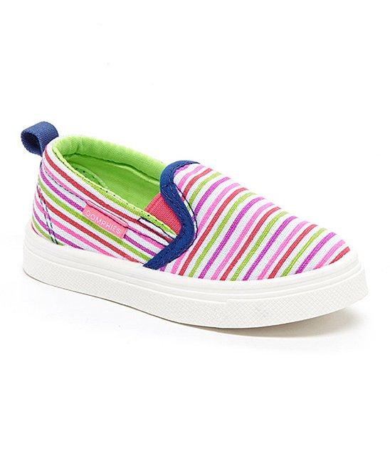 Oomphies Rascal Girls Stripy Slip-on Shoe