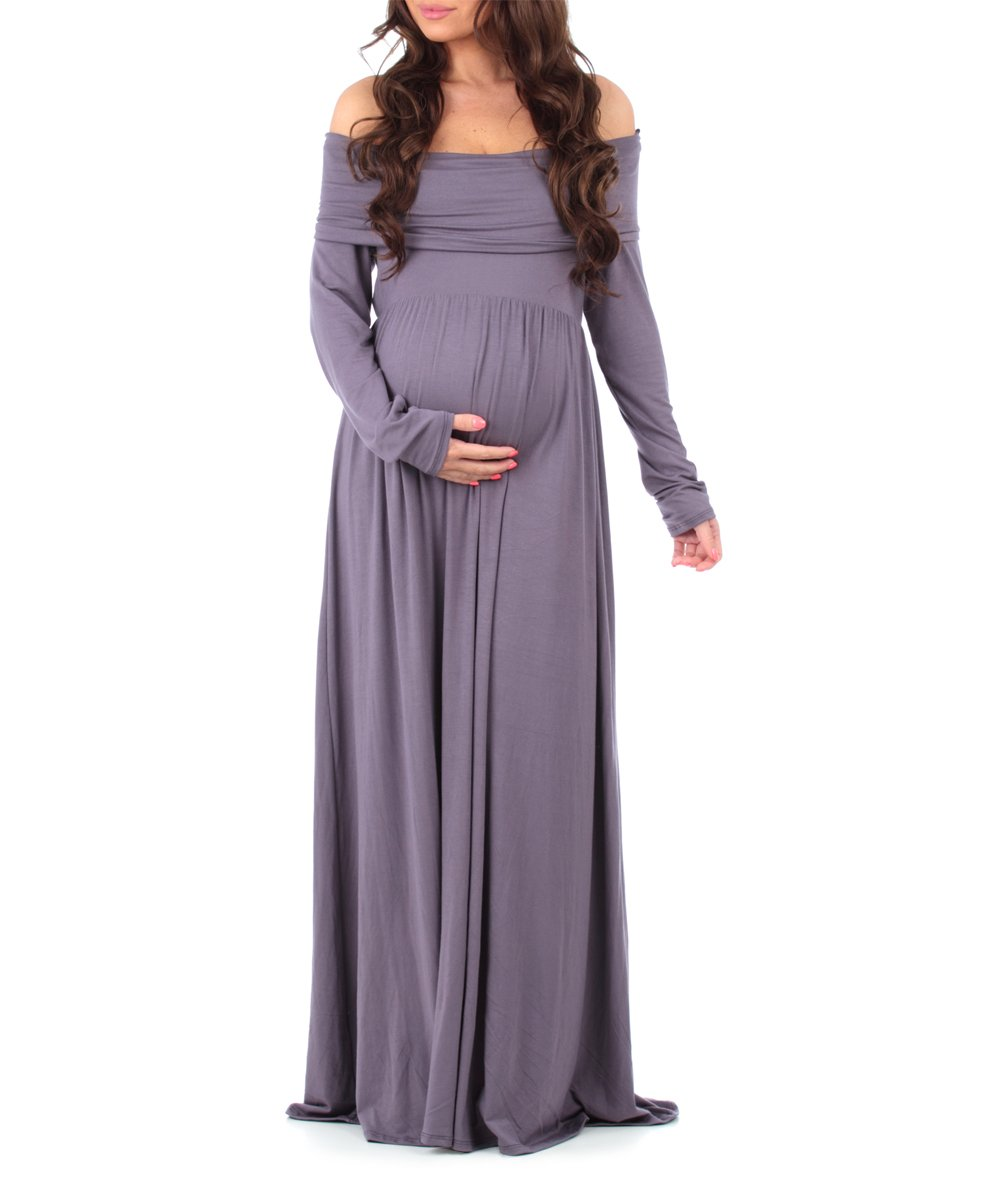Mother Bee Maternity Vintage Purple Maternity Off Shoulder Maxi Dress Best Price And Reviews Zulily