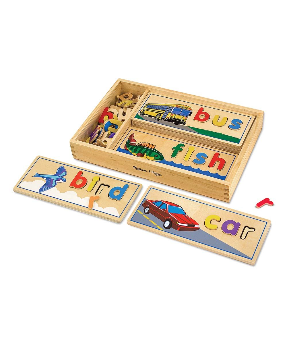 See & spell wood puzzle set