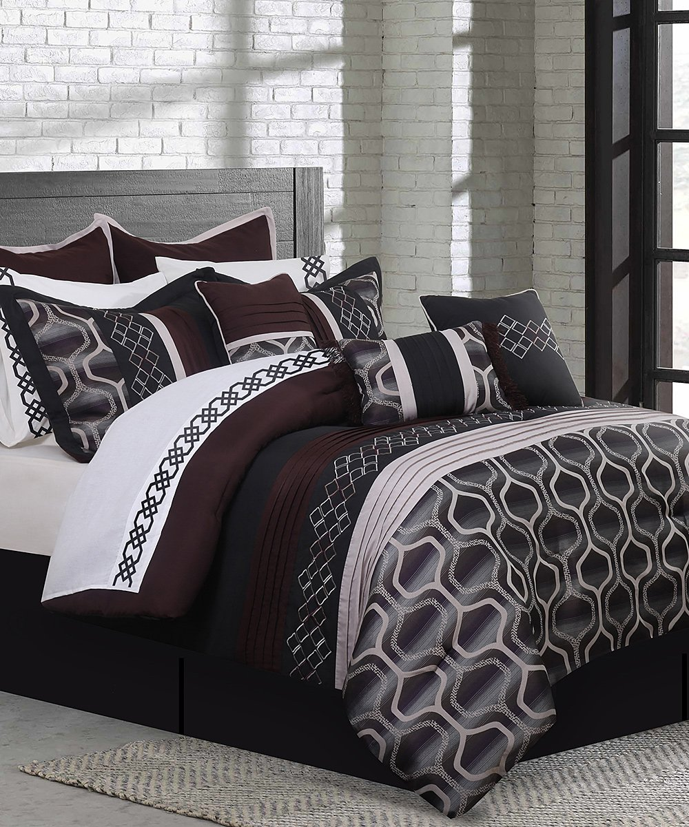 Safdie Co Inc Black Burgundy Cole Seven Piece Comforter Set Best Price And Reviews Zulily