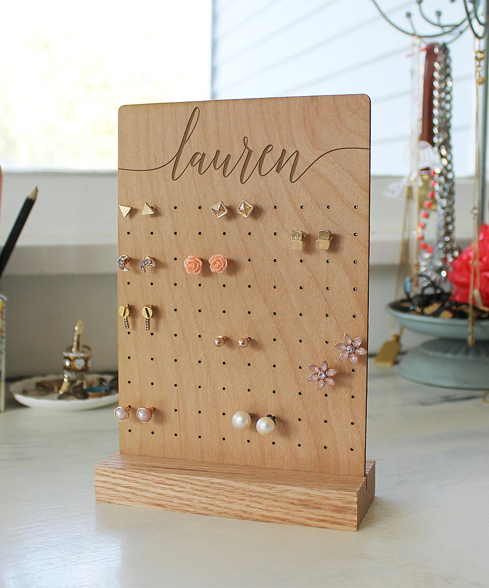 Natural Rectangular Cursive Personalized Wood Jewelry Stand! .99 (REG .00) at Zulily!
