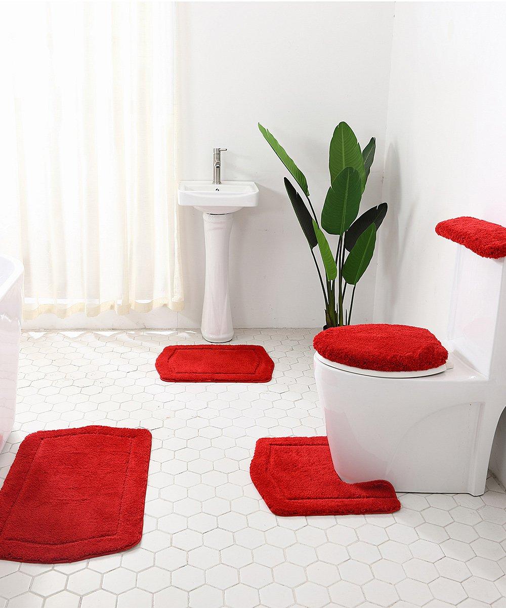 Beyond Red Five Piece Bath Rug Set, Five Piece Bathroom Rug Sets