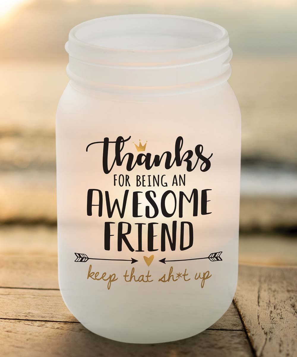 .99 White 'Awesome Friend' Frosted Glass Mason Jar Votive Holder at Zulily!
