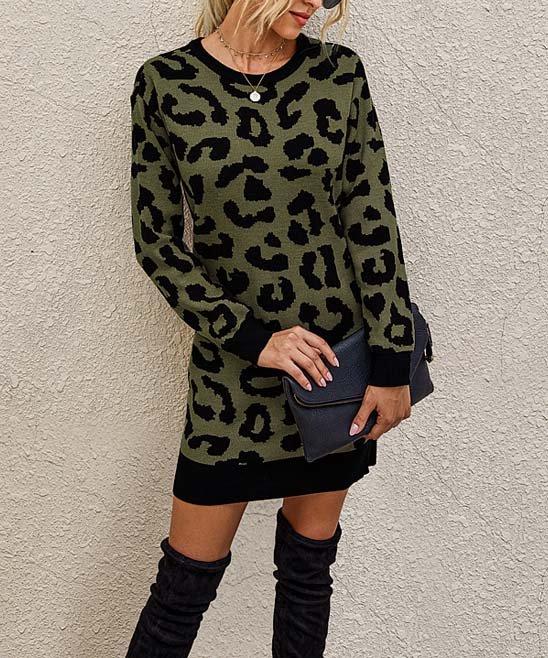 Supreme Fashion Olive Leopard Sweater Dress Women