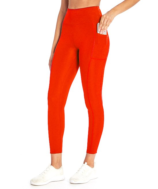 Bally Total Fitness Women's 25'' Pocket High-Rise Ankle Leggings (Fiery Red)