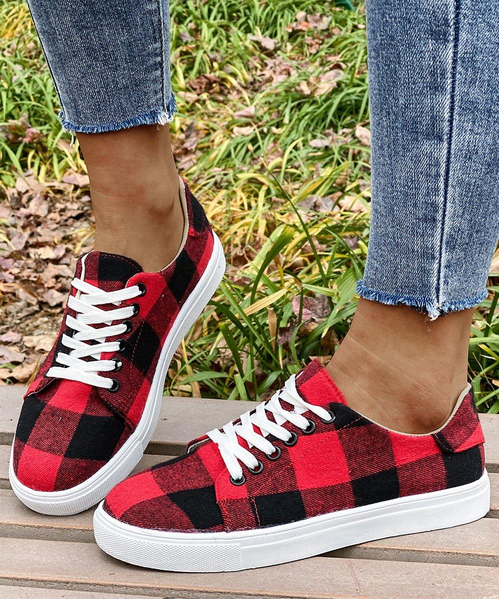 .99 Red & Black Buffalo Check Sneaker – Women at Zulily!