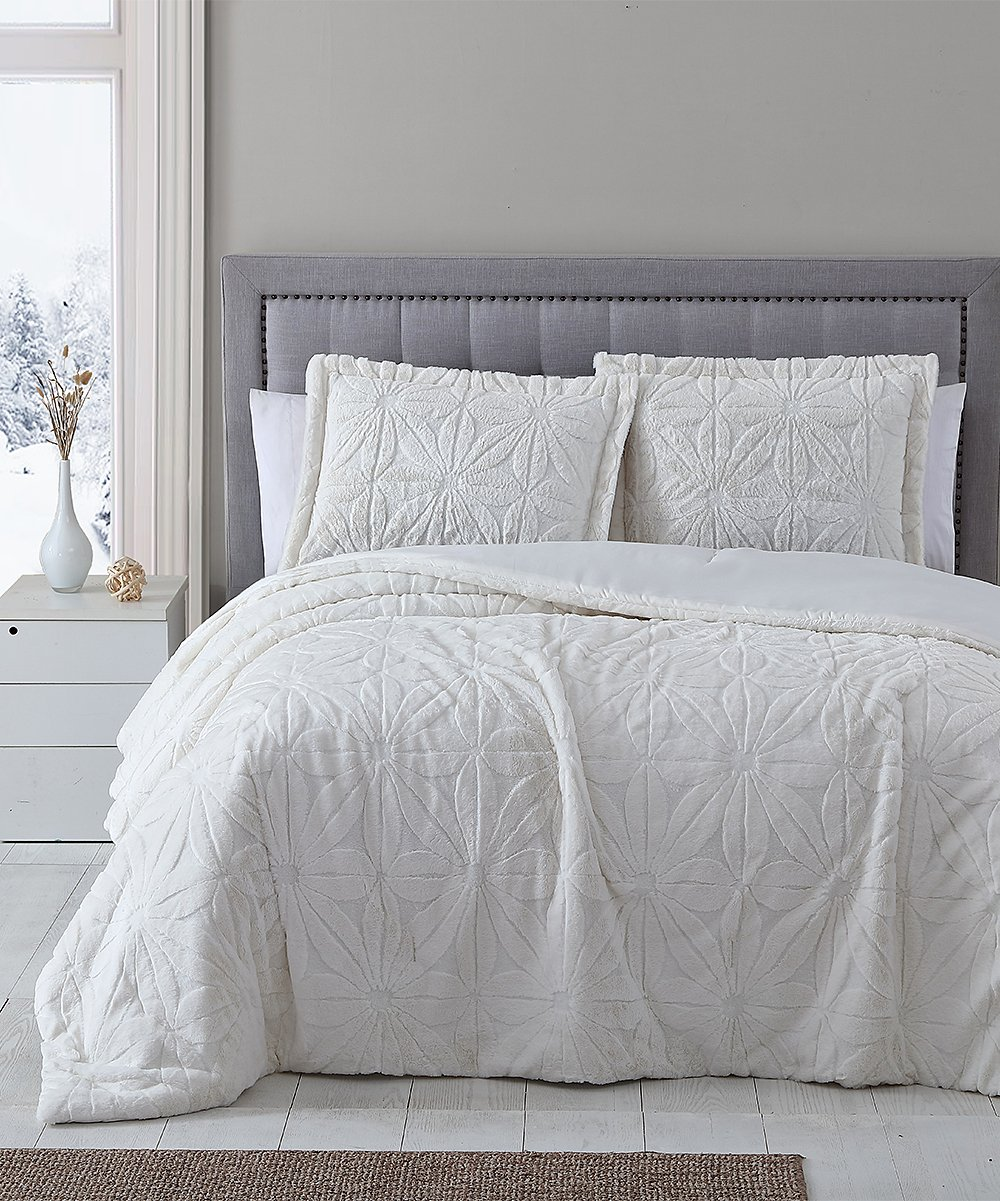 Casual Chic Collection White Geometric Faux Fur Comforter Set Best Price And Reviews Zulily