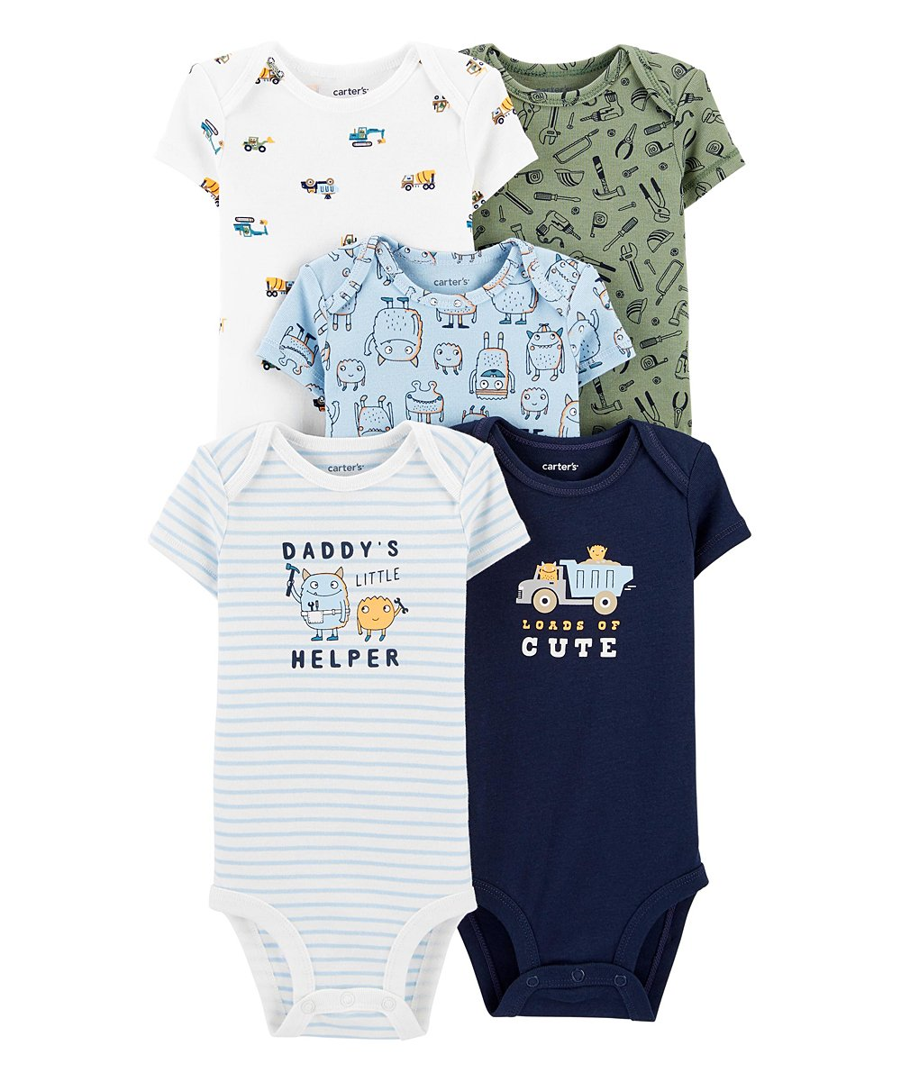 love this product Blue Stripe 'Daddy's Little Helper' Monster Bodysuit Set -...