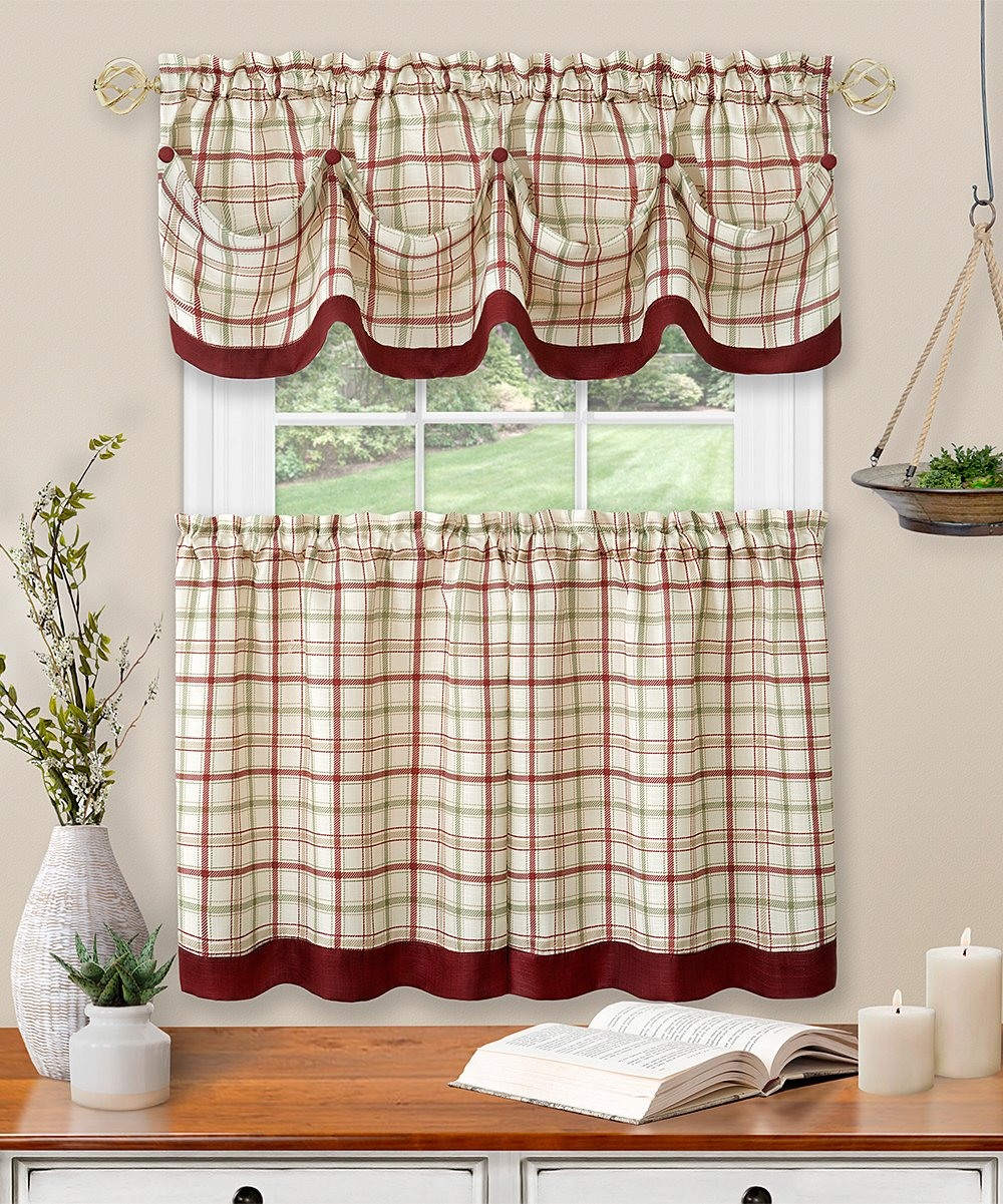 Kate Aurora Burgundy Plaid Tattersall Cafe Curtain Panel Valance Best Price And Reviews Zulily