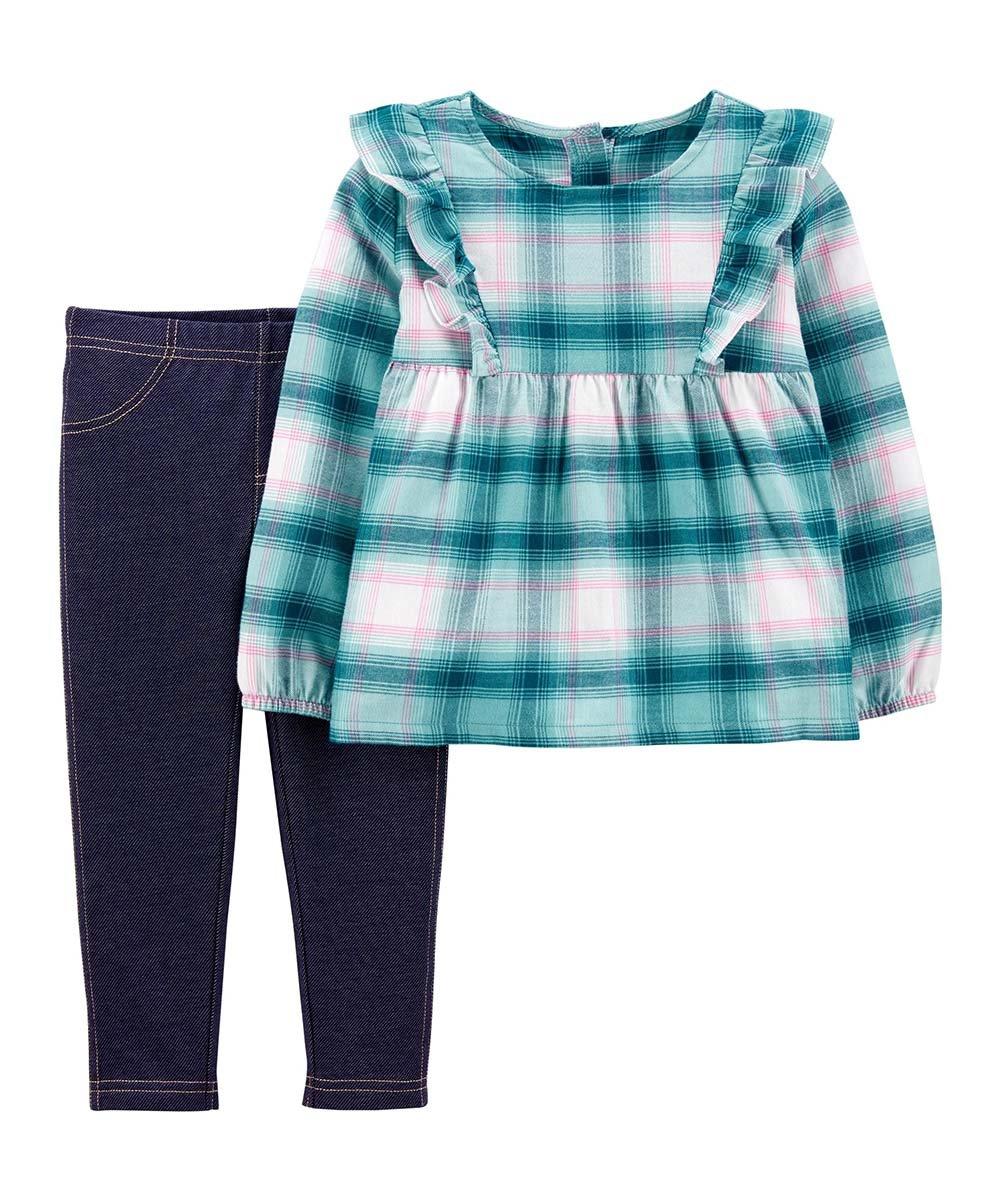 .99 Blue Plaid Ruffle Babydoll Top & Navy Denim Leggings – Infant at Zulily!