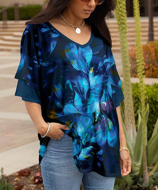 .99 Blue & Navy Floral Abstract V-Neck Ruffle-Sleeve Tunic – Women & Plus at Zulily!