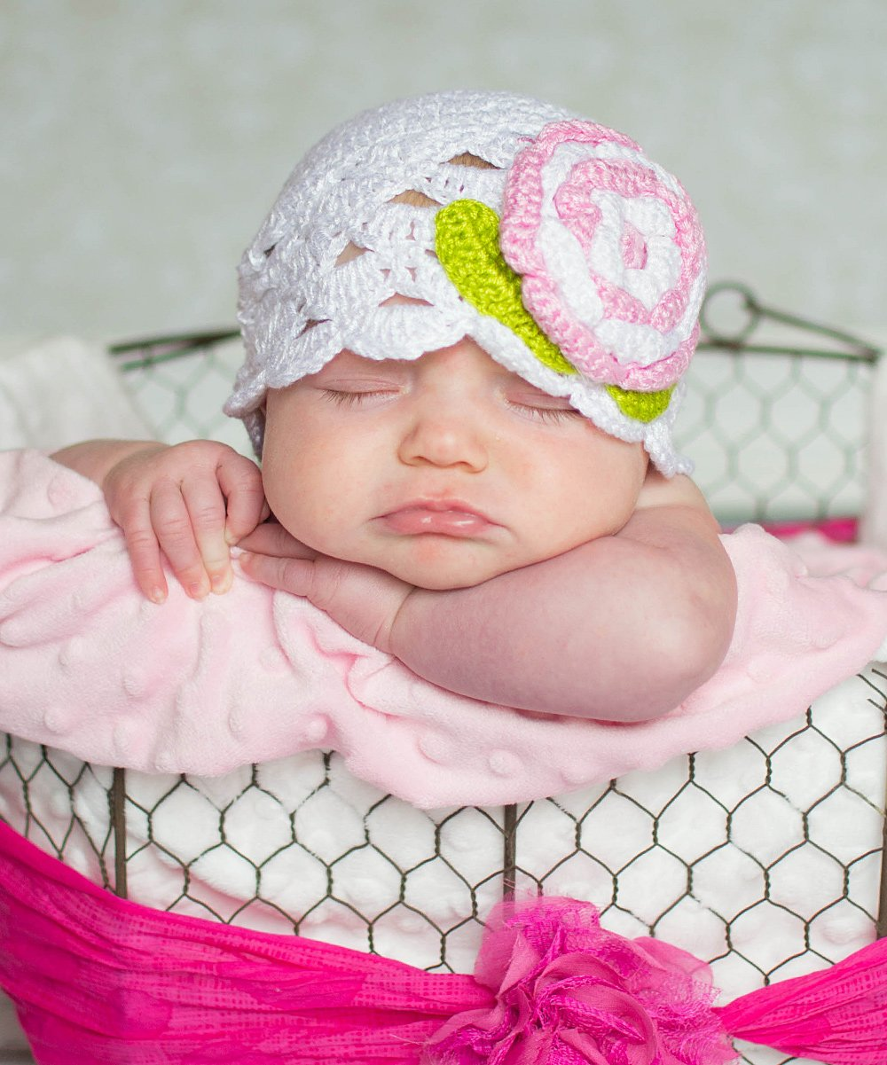 love this product White Flower Scalloped Crocheted Beanie - Infant