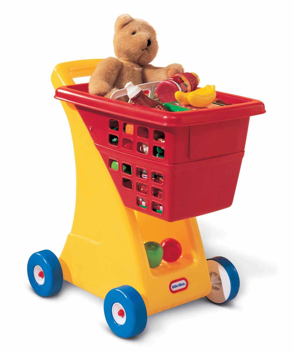 Red Shopping Cart Toy Red Shopping Cart Toy. Little shoppers will love having their own cart to push around that has bright colors and a ton of space for toys and treasures. Accessories not included12.5'' W x 23'' H x 16.5'' DPlasticAssembly requiredRecommended for ages 18 months and up
