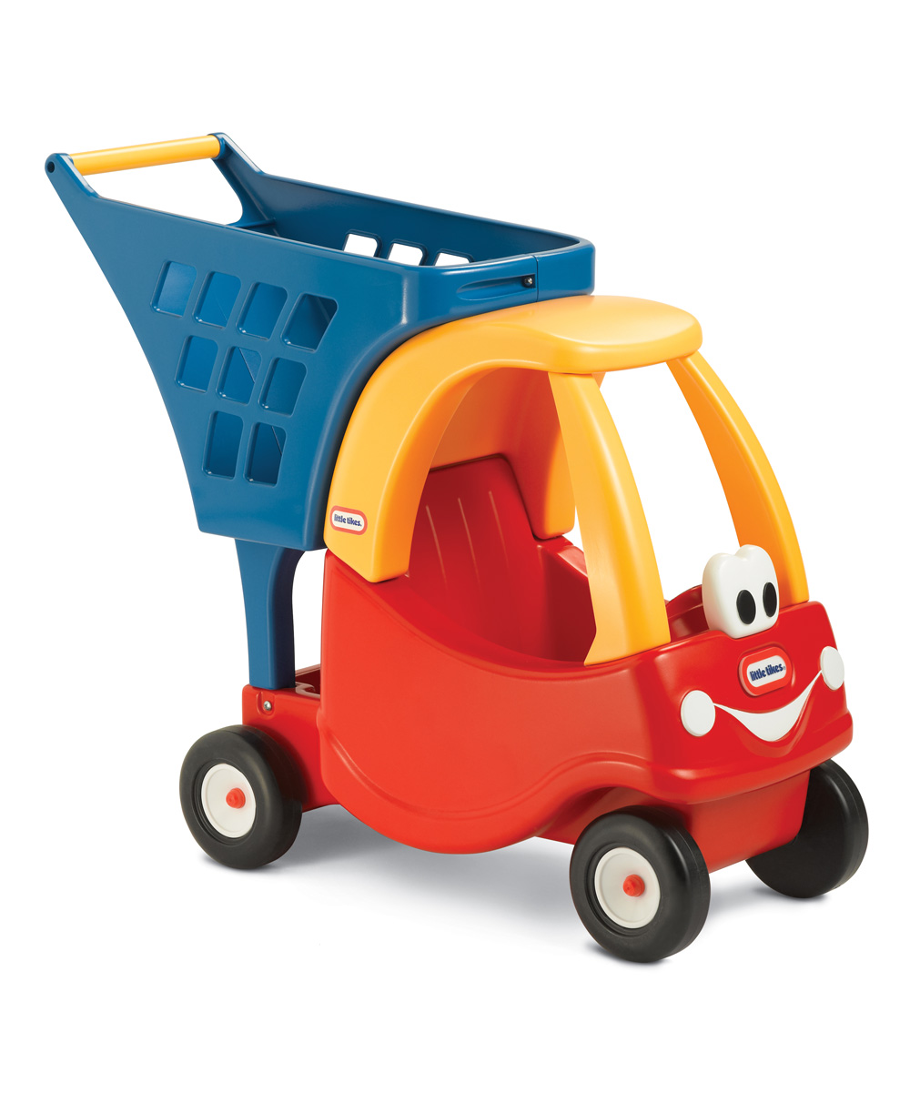 Cozy Coupe Shopping Cart Cozy Coupe Shopping Cart. Little shoppers will love having their own cart to push around that has bright colors and a ton of space for toys and treasures. 26.25 in W x 22 in H x 10.5 in DPlasticAssembly requiredRecommended for ages 18 months and up