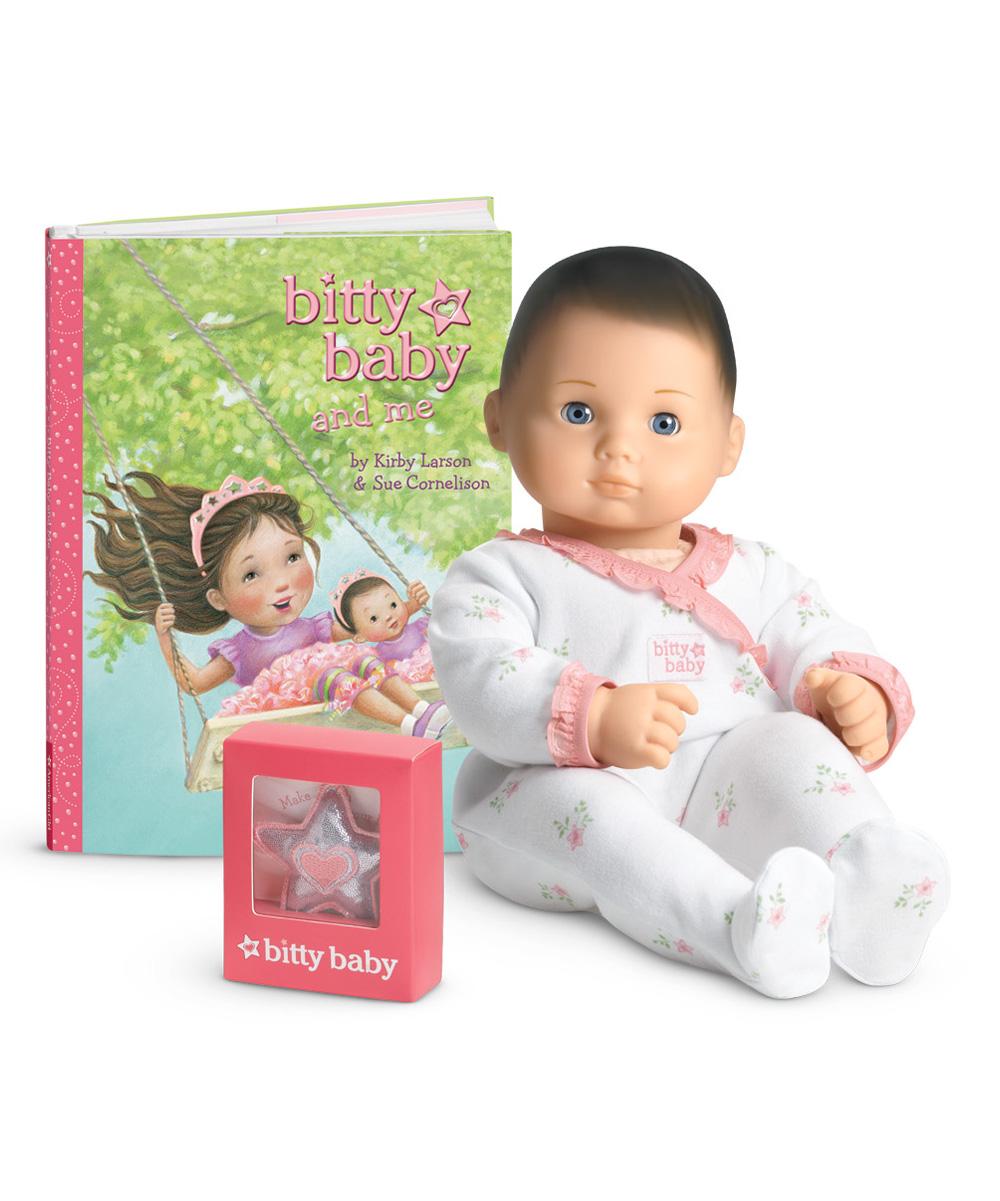 American Girl Light Skin Brown Hair Blue Eye Bitty Baby Doll Set