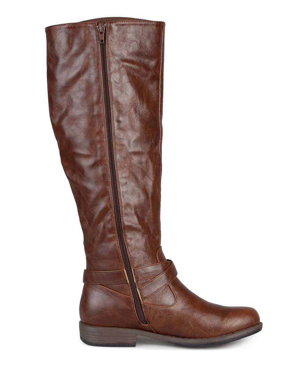 16a5436bf10 Journee Collection Brown April Wide-Calf Riding Boot