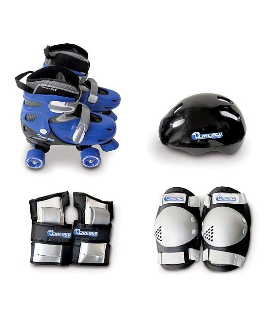 Blue Quad Combo Roller Skate & Helmet Set - Kids