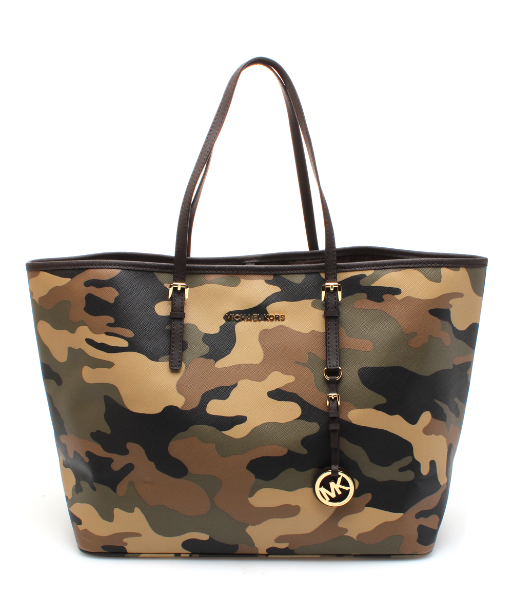 d9a007f3b025f3 MICHAEL Michael Kors Brown Camouflage Jet Set Travel Leather Tote ...