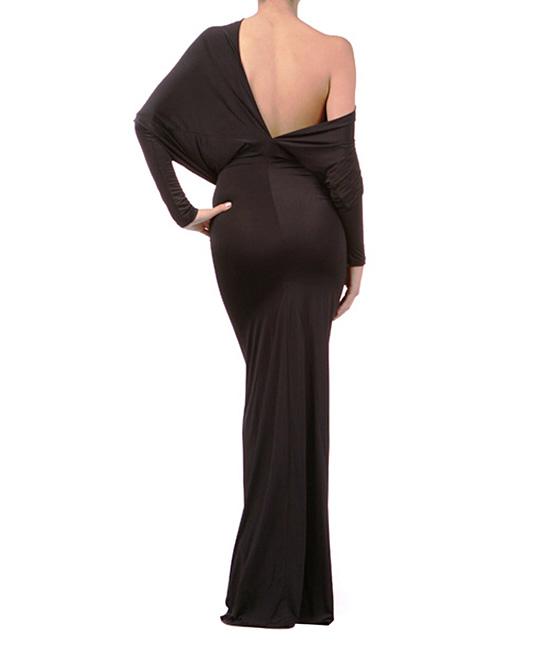 Karen T. Design Women's Maxi Dresses BLACK - Black Off-Shoulder Maxi Dress - Plus